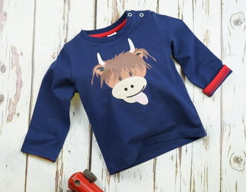 Navy long sleeved top with Highland cow, Blade & Rose