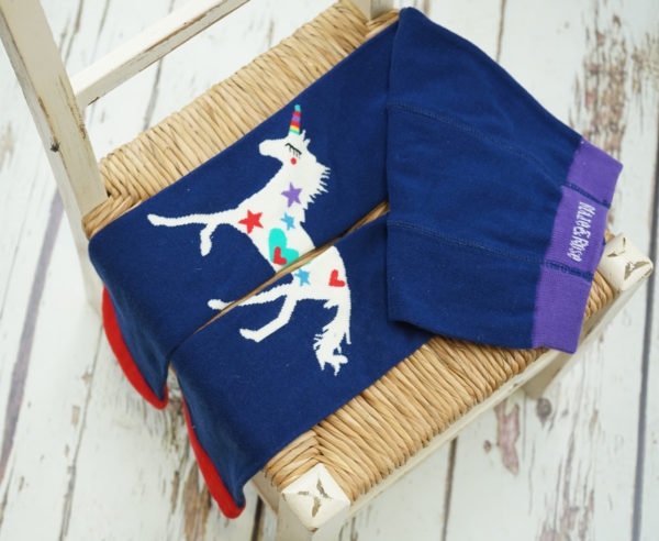 Colourful unicorn and navy blade and rose leggings for kids